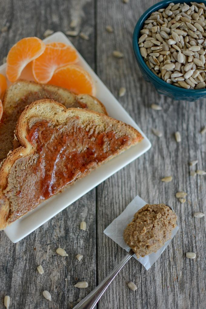 Maple Cinnamon Sunflower Seed Butter with toast and a clementine