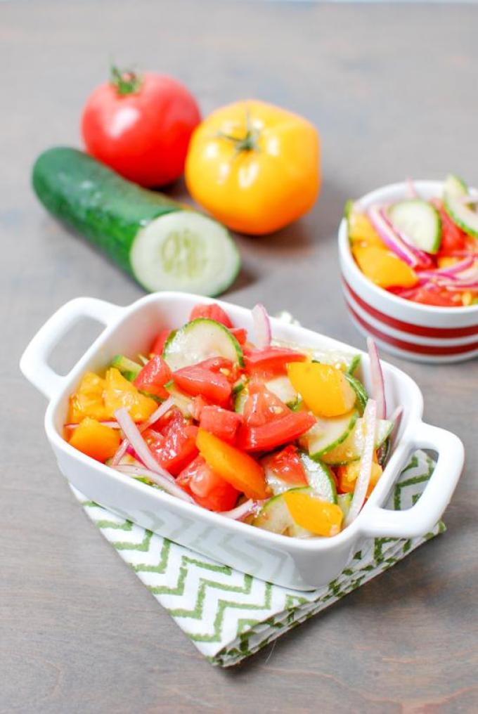 With just a few simple ingredients, this recipe for an Easy Tomato and Cucumber Salad is the perfect way to enjoy summer produce!