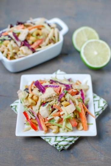This Thai Chicken Salad is light, crunchy and refreshing, perfect for lunch or dinner on a hot day. Make a big batch and eat the leftovers all week!