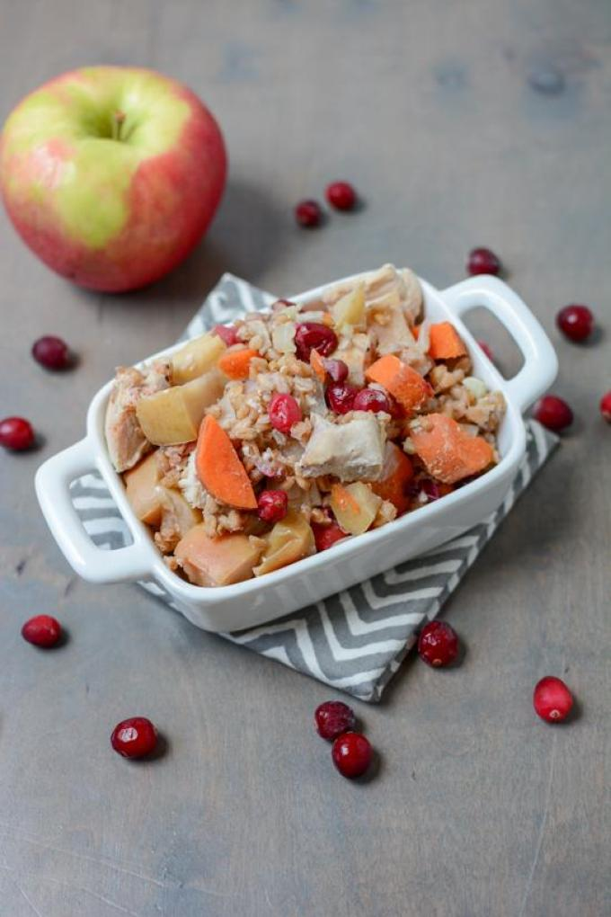 This Slow Cooker Apple Cranberry Chicken recipe is perfect for fall. Plus it's freezer friendly. Just pull it out, dump in the crockpot and dinner cooks itself!