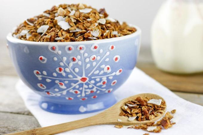This Gingerbread Granola recipe is everything you love about gingerbread transformed into a crunchy and satisfying granola suitable for breakfast, snacking and edible holiday gifts!