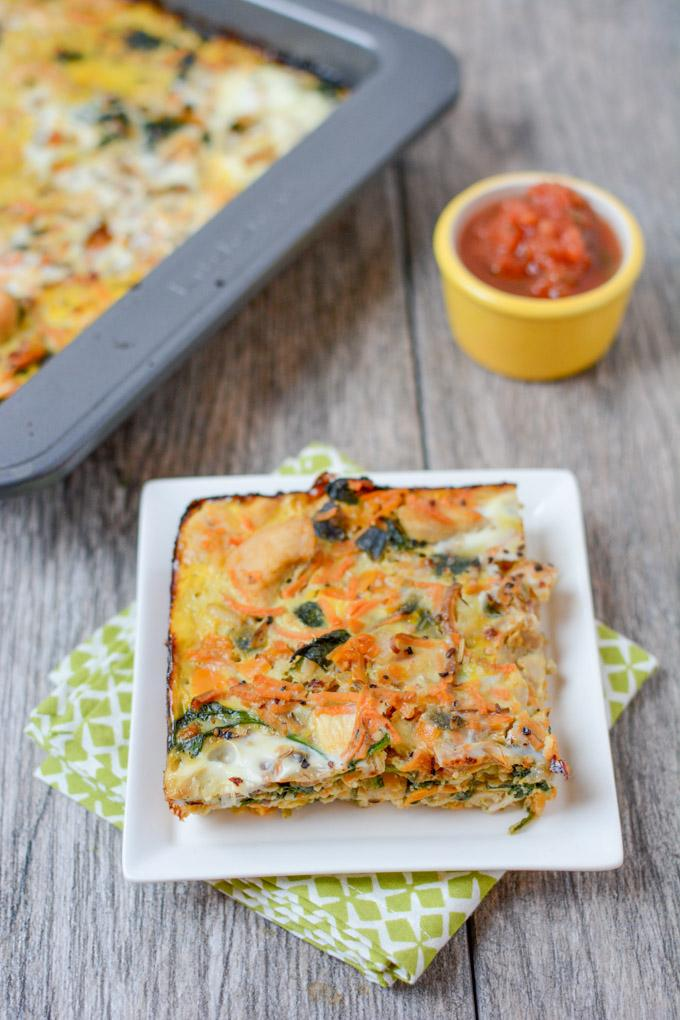 Packed with vegetables, this Paleo Breakfast Casserole with Chicken is a simple and delicious recipe. Serve it for brunch or make it on Sunday and reheat a slice every day for breakfast during the week.