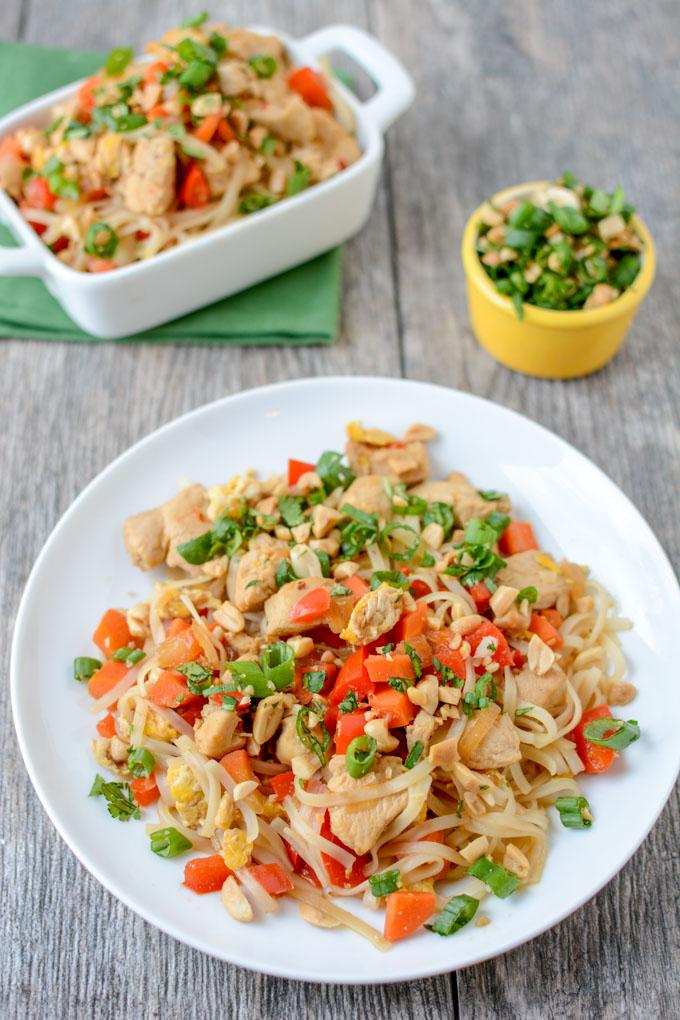 This quick and easy Chicken Pad Thai makes a great weeknight dinner. Full of Asian flavors, this recipe is gluten-free and ready in 20 minutes.