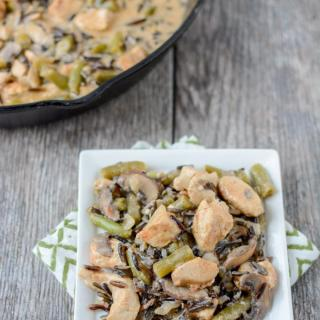 This Creamy Chicken and Wild Rice Skillet recipe is the perfect dinner for a busy night. It's quick, healthy and packed with protein and vegetables.
