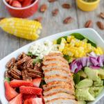 Strawberry Chicken Spinach Power Salad
