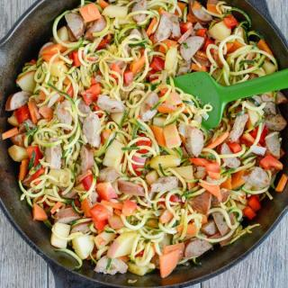 This Chicken Sausage Skillet with Zoodles recipe will quickly become one of your go-to dinners. It's simple, healthy and easy to customize with whatever vegetables you have on hand.