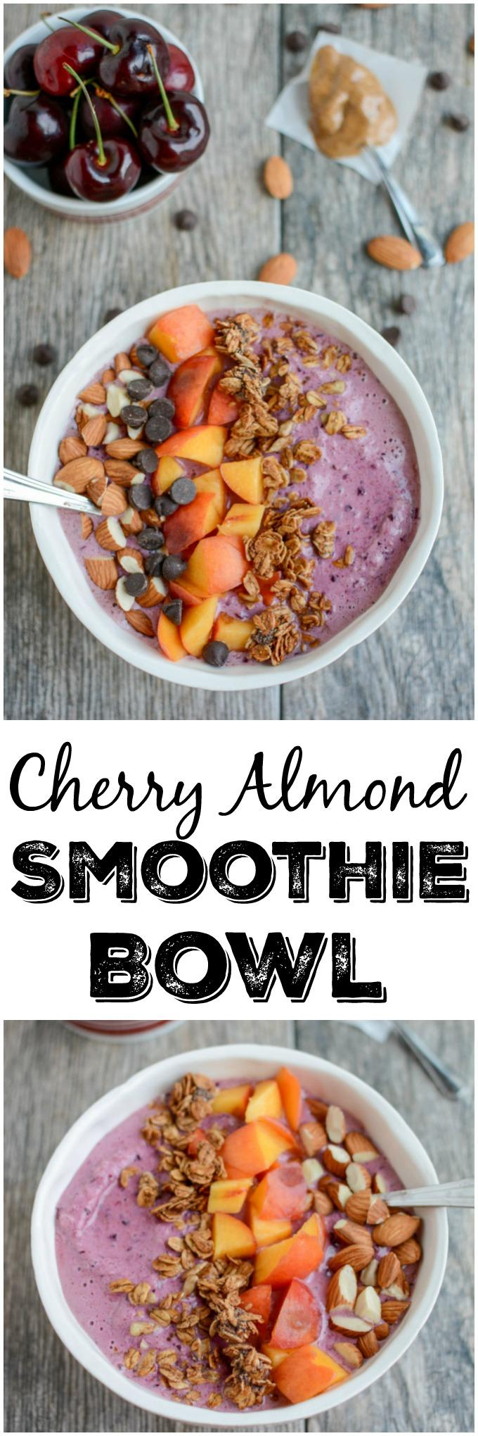 This Cherry Almond Smoothie Bowl recipe is full of healthy fats and protein for a healthy breakfast or snack on a hot day. Top with granola and nuts for an added crunch and dig in with a spoon!