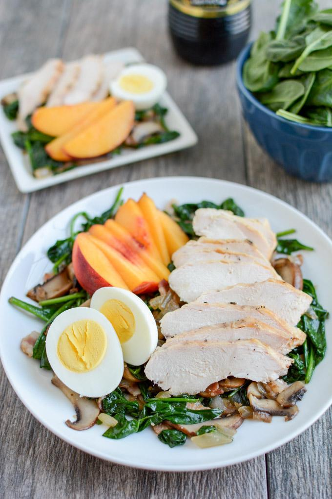 This Warm Spinach Bacon Salad with Chicken transforms leftover chicken into a whole new meal that's perfect for lunch or dinner.