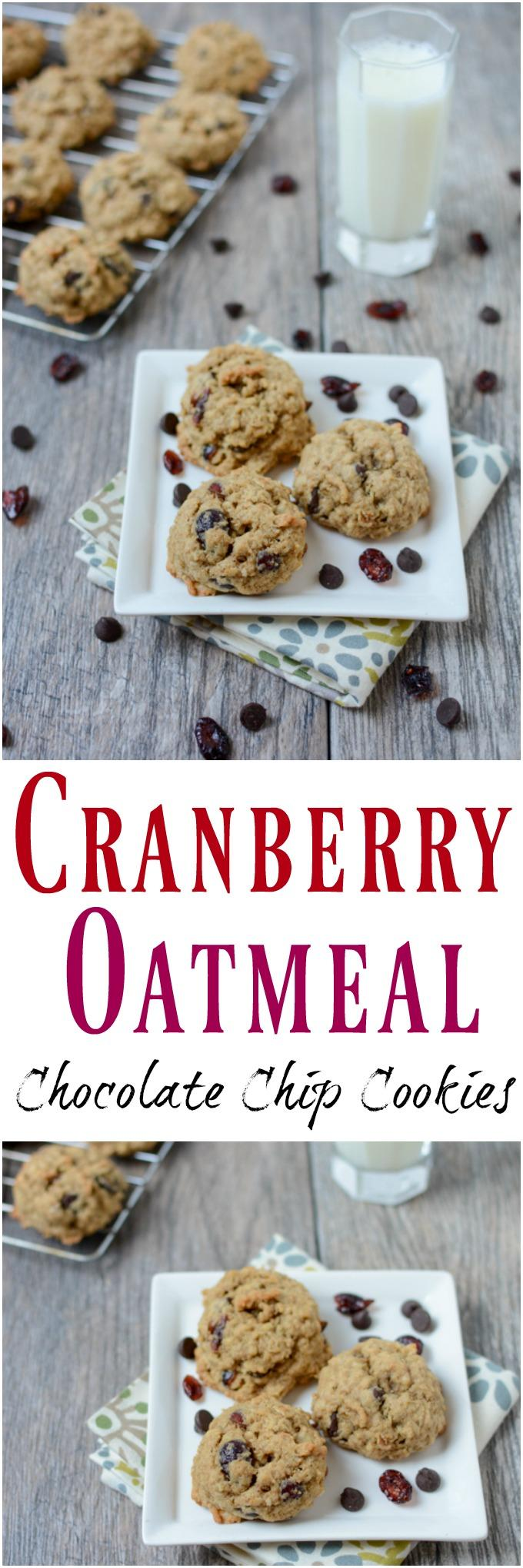 These Cranberry Oatmeal Chocolate Chip Cookies are fluffy, chewy and full of delicious mix-ins. They're easy to make when a dessert craving strikes!
