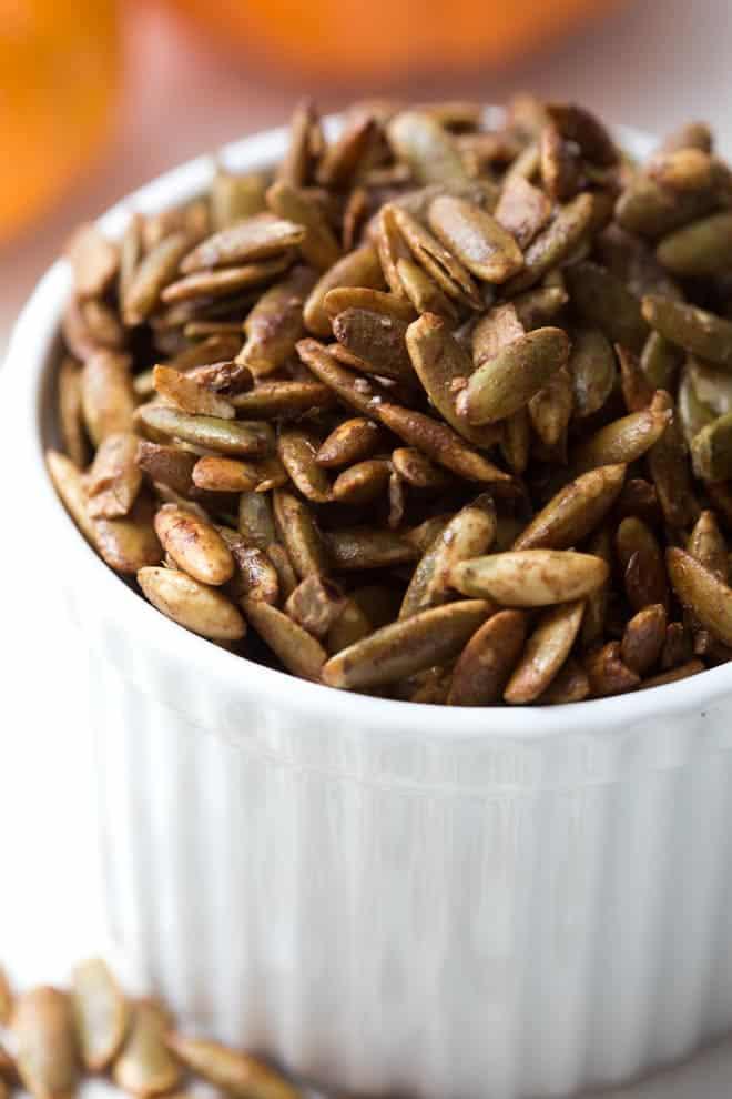 cinnamon pepitas in a bowl