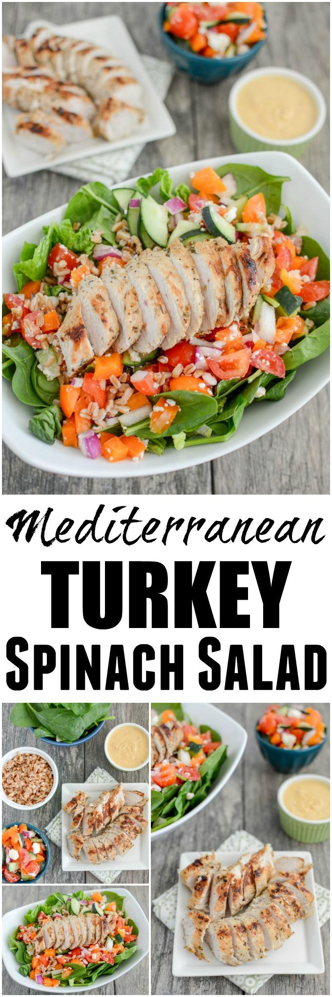 This Mediterranean Turkey Spinach Salad recipe is packed with protein and flavor! Prep the components ahead of time and assemble for a quick, healthy lunch or dinner!