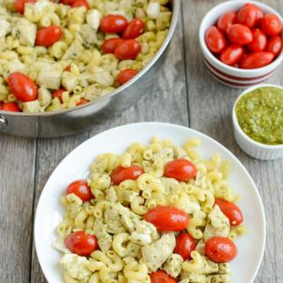 This Pesto Chicken Caprese Pasta is perfect for your next food prep session. It can be made ahead of time for a quick and healthy lunch or dinner that can be eaten warm or cold!