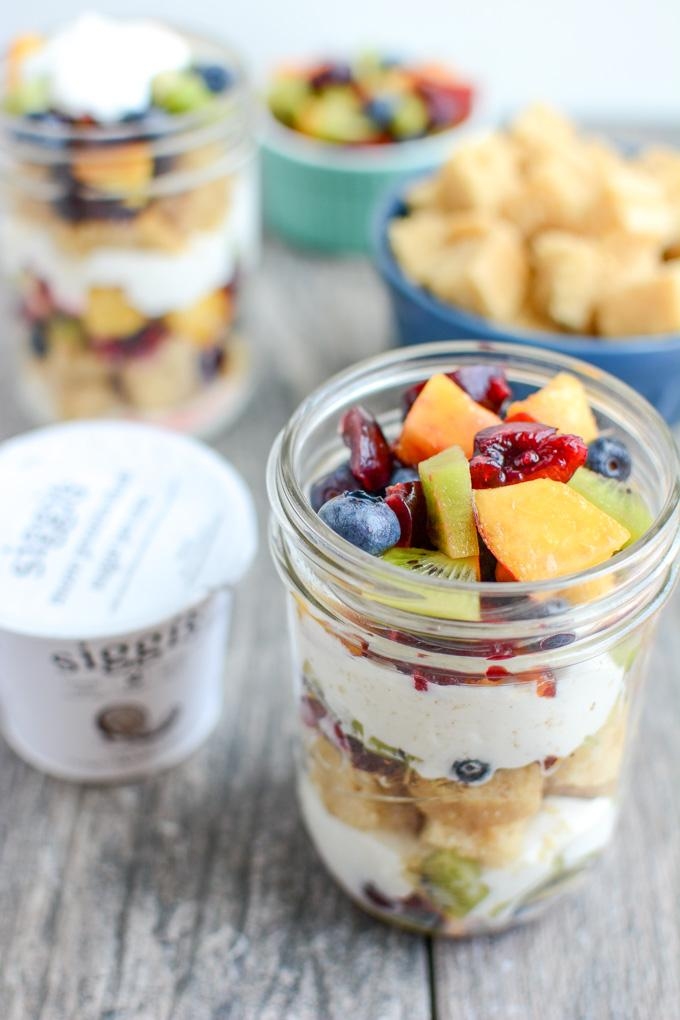 These Vanilla Cake Parfaits are the perfect dessert. Adults and kids will love the layers of cake cubes, yogurt and fresh fruit. Assemble it ahead of time or set up a DIY parfait bar and let people build their own!