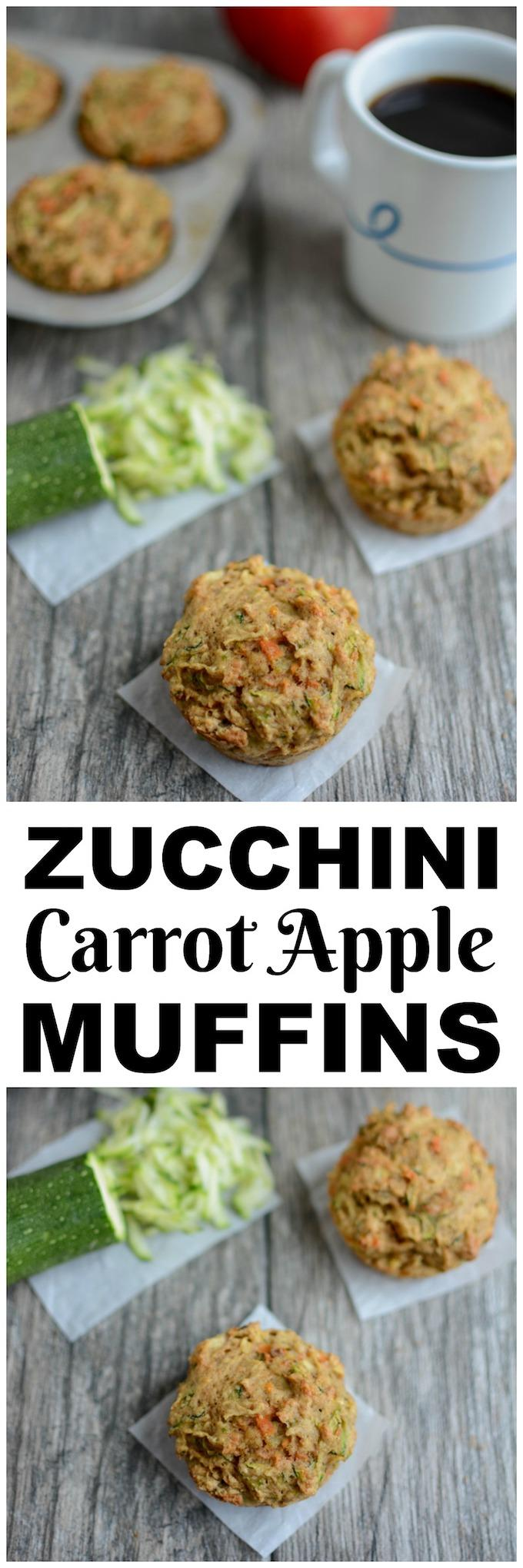 These healthy Zucchini Carrot Apple Muffins are packed with fruits and vegetables and make the perfect kid-friendly breakfast or snack!