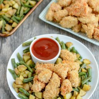 These Crispy Chicken and Potato Bowls with Sweet Sweet and Spicy Ketchup are cooked on a sheet pan for an easy, healthy dinner recipe the whole family will love.