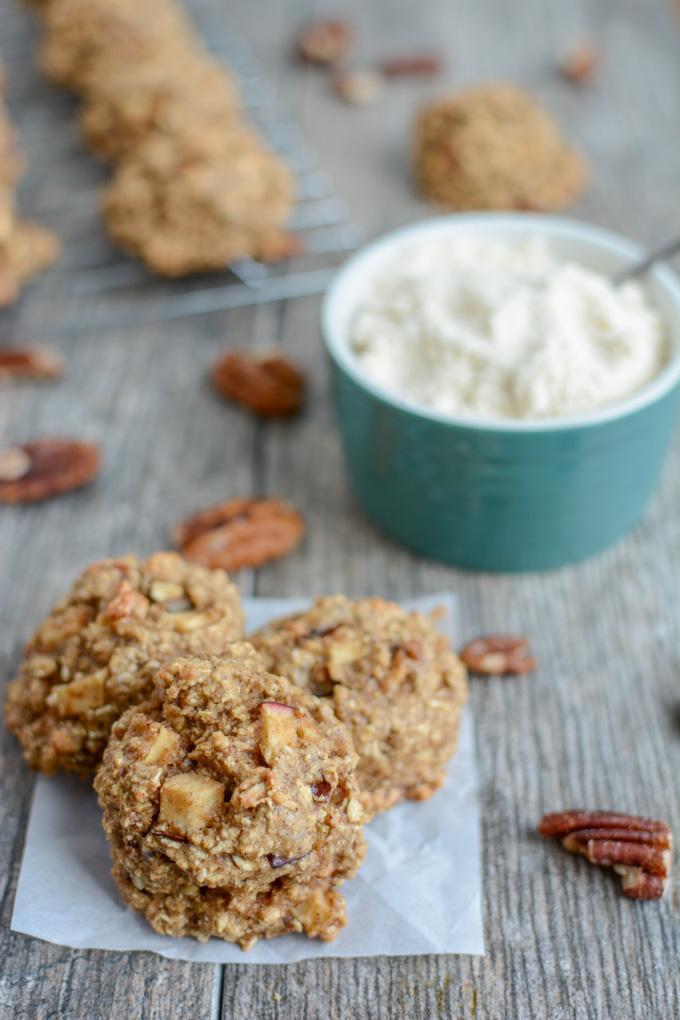 gluten-free Apple Pecan Snack Cookies with coconut flour