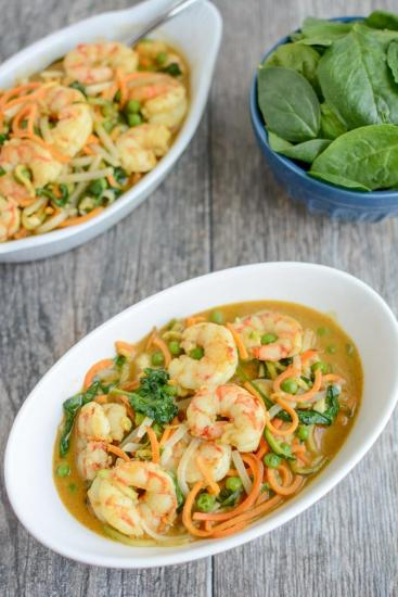 This recipe for Shrimp Curry Noodle Bowls is quick, healthy and perfect for dinner on a busy night. Ready in 15 minutes, it's packed with veggies and full of flavor!