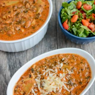 This Instant Pot Vegetarian Lasagna Soup is a quick and easy comfort food dinner that's ready in under 30 min or less.