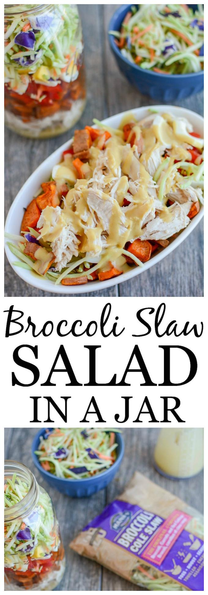 This Broccoli Slaw Salad in a Jar is the perfect packable lunch! Transform leftover chicken into an easy, healthy lunch option that can be prepped ahead of time for a busy week!