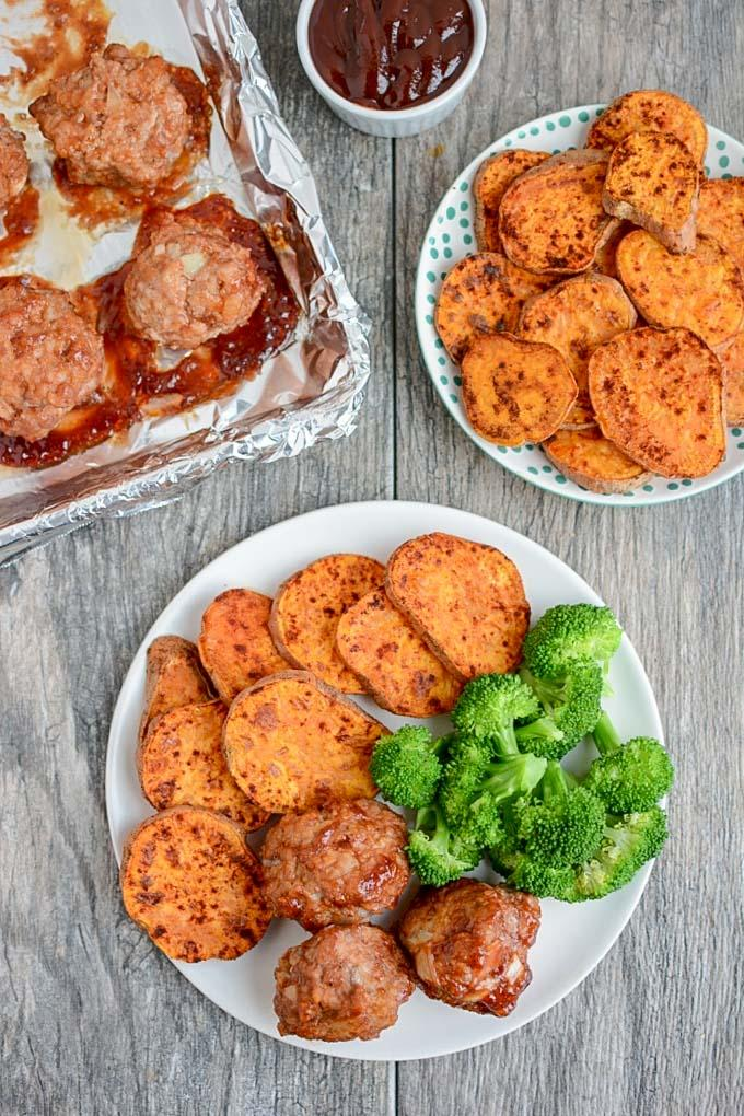 Sheet Pan BBQ Meatballs with Sweet Potatoes overhead shot