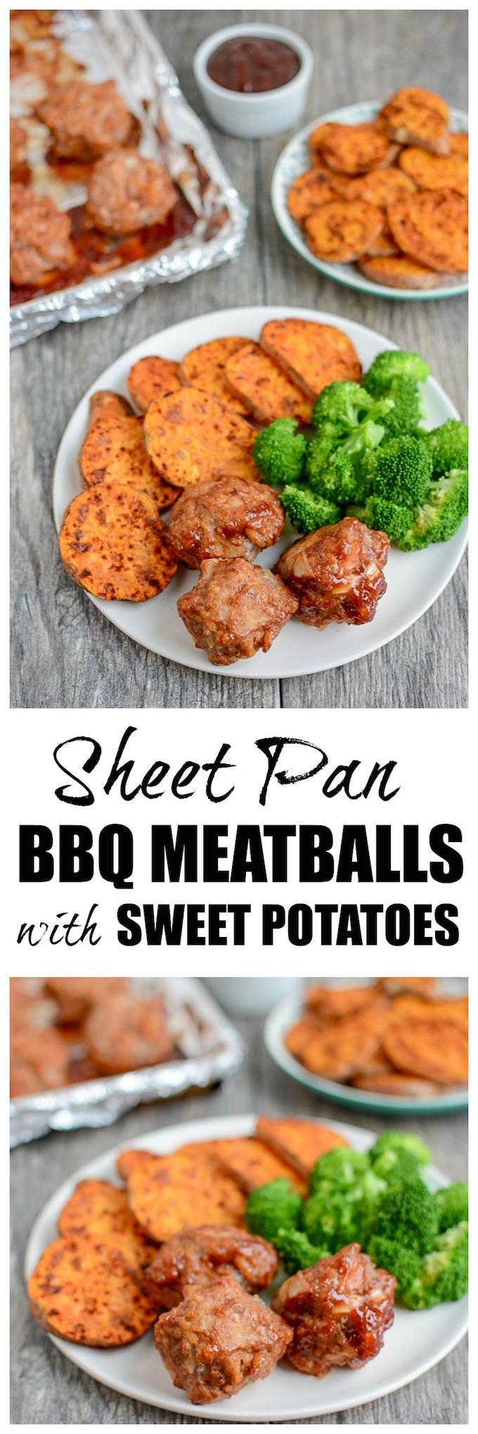 Make these Sheet Pan BBQ Meatballs with Sweet Potatoes recipe for a quick and easy weeknight dinner that the whole family will love! Plus the leftovers make the perfect healthy lunch option.