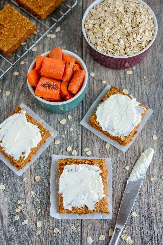 Carrot Oat Bars with Cream Cheese Frosting