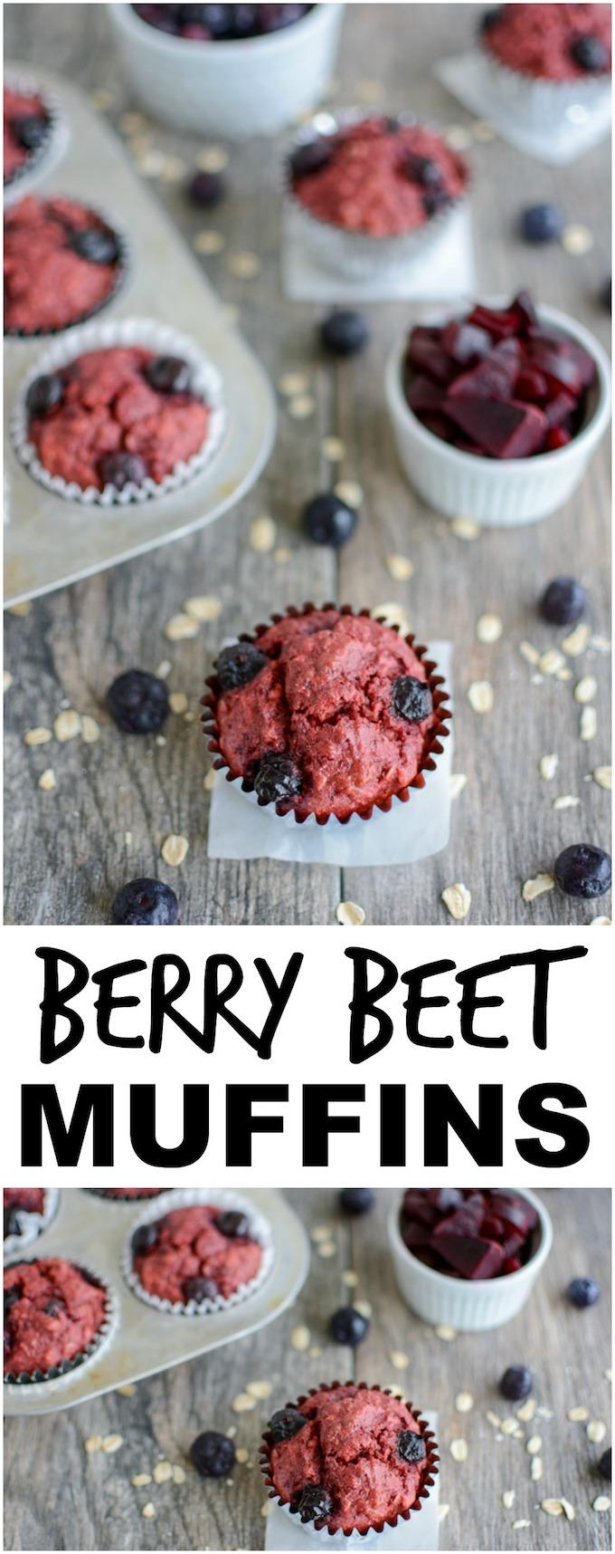 These Blueberry Beet Muffins are a healthy, kid-friendly breakfast or snack. Their pink color makes them fun to eat and you'd never know they're packed with vegetables!