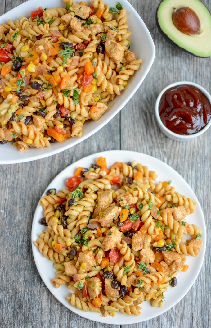 BBQ Chicken Pasta Salad made with Dreamfields rotini pasta