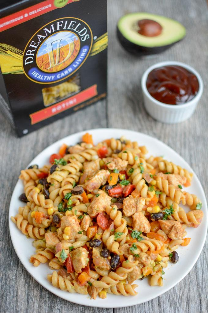 BBQ Chicken Pasta Salad with Dreamfields rotini
