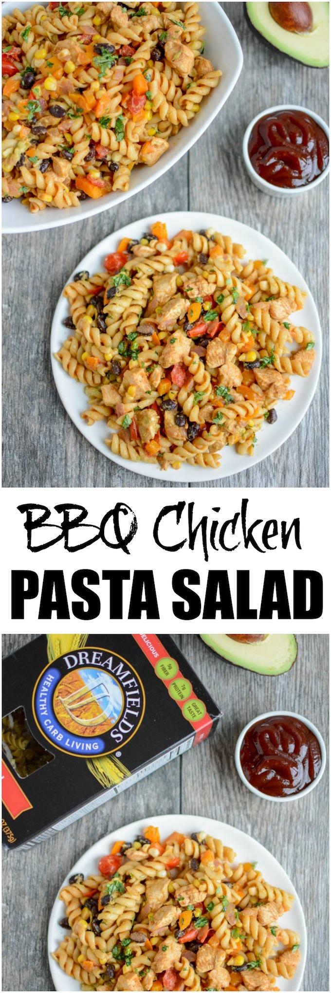 This BBQ Chicken Pasta Salad is perfect for everything from dinner on a hot night to a summer picnic or cookout. It's packed with protein, fiber, and vegetables and can be made ahead of time!