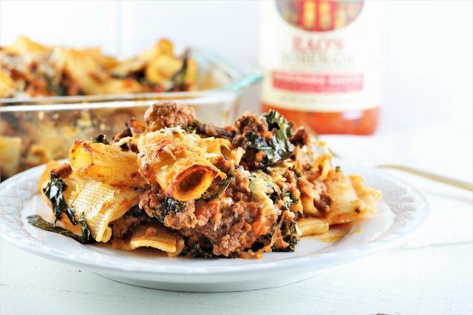 Cheesy Beef and Kale Pasta Bake