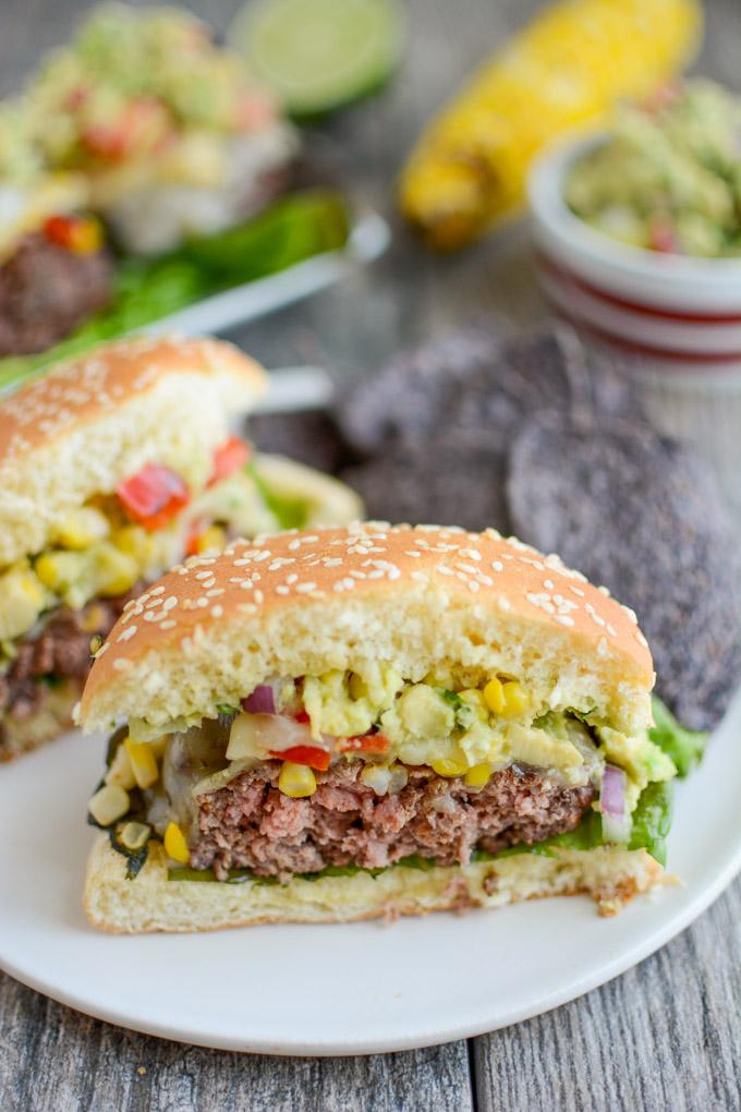 Grilled Mexican Burger cut in half