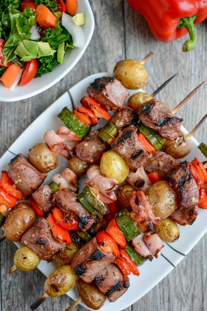 Grilled Steak and Potato Kabobs with veggies and bacon