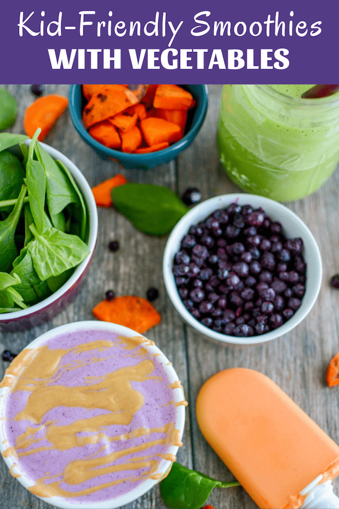 These kid-friendly smoothies with vegetables are perfect for snack time. Packed with carrots, spinach or cauliflower, both kids and adults will love these simple, healthy smoothies or popsicles.