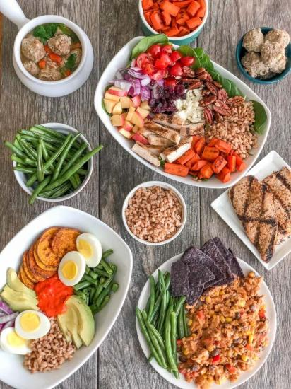 Prep four ingredients, make four meals using component food prep