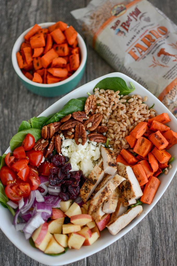 Chicken and Farro Spinach Salad