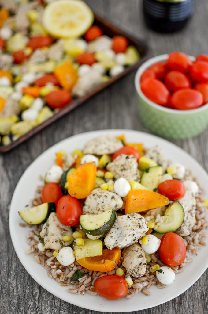 Sheet Pan Caprese Chicken with summer vegetables