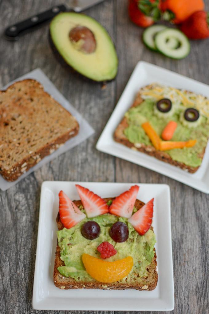 veggie face avocado toast