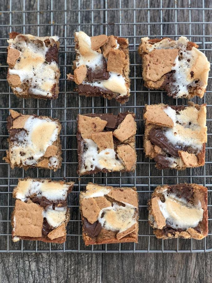 easy peanut butter s'mores bars on cooling rack