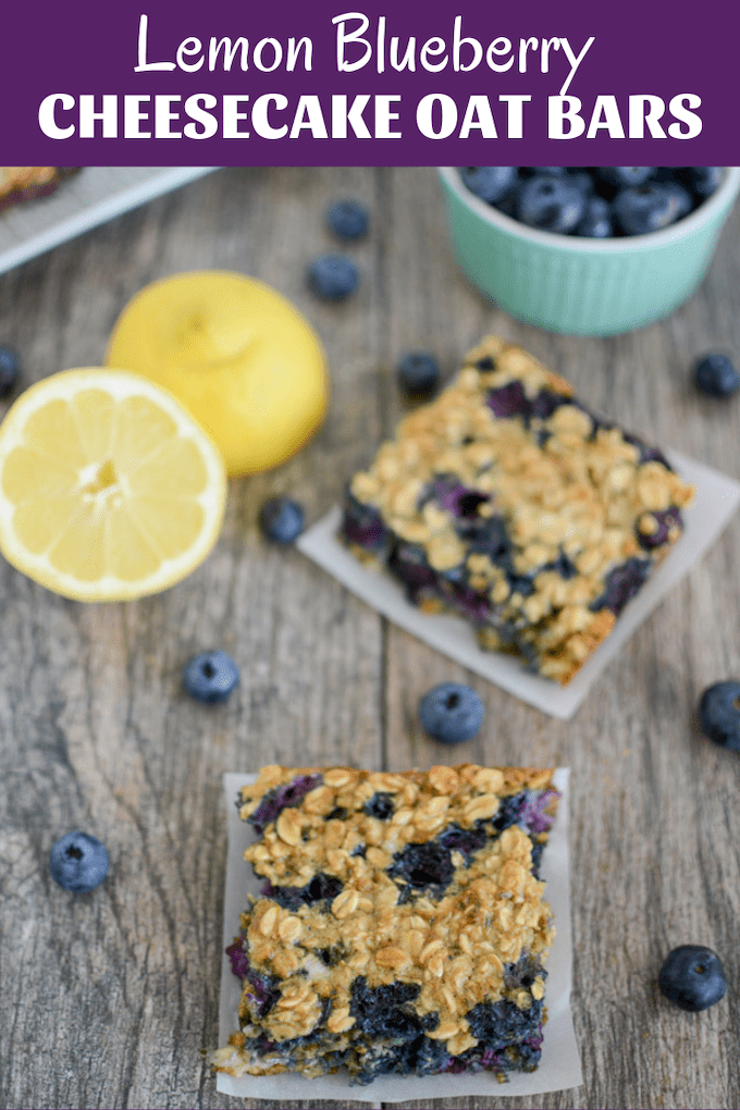 These Lemon Blueberry Cheesecake Oat Bars are the perfect summer breakfast. Make them ahead of time and enjoy all week long for a quick, healthy meal or snack!