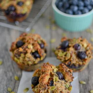 Blueberry French Toast Muffins with bowl of blueberries
