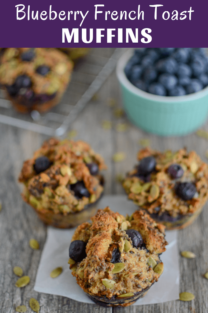 These Blueberry French Toast Muffins are quick, healthy and kid-friendly. Make a batch over the weekend and serve them for breakfast or pack them for lunch! They can easily be customized with different mix-ins.