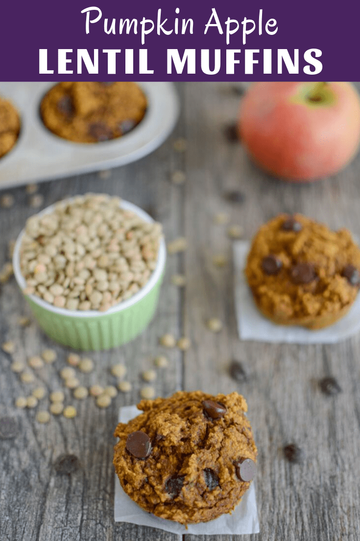 These Pumpkin Apple Lentil Muffins are perfect for Fall. They're lightly sweetened and full of fiber, fruits, vegetables and whole grains. Plus they're kid-friendly and nut-free, making them perfect for breakfast, snack or school lunch!