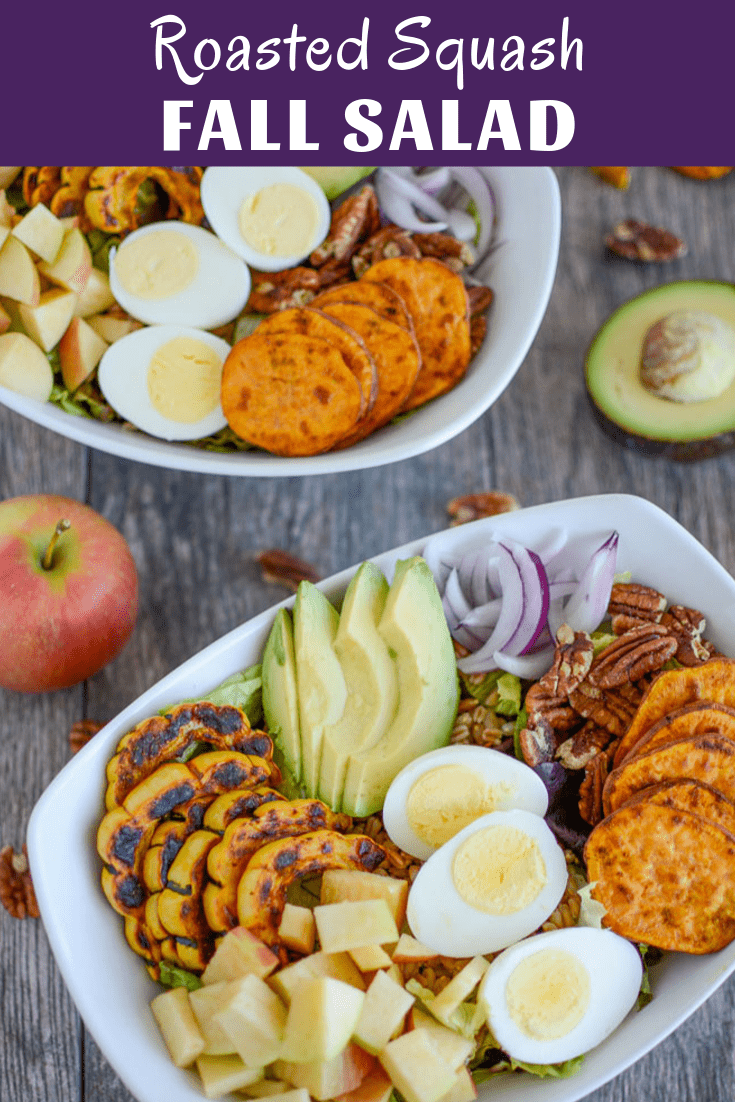 This Roasted Squash Fall Salad is perfect for lunch or dinner. Packed with vegetables and protein, it's full of flavor and easy to customize. A great way to enjoy seasonal produce! Keep it vegetarian or add your favorite meat or fish.