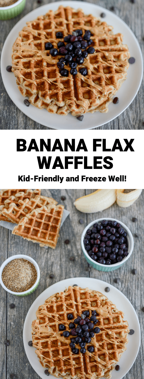 These Banana Flax Waffles are made with just seven ingredients and no added sugar. They freeze well and make a great breakfast or snack!