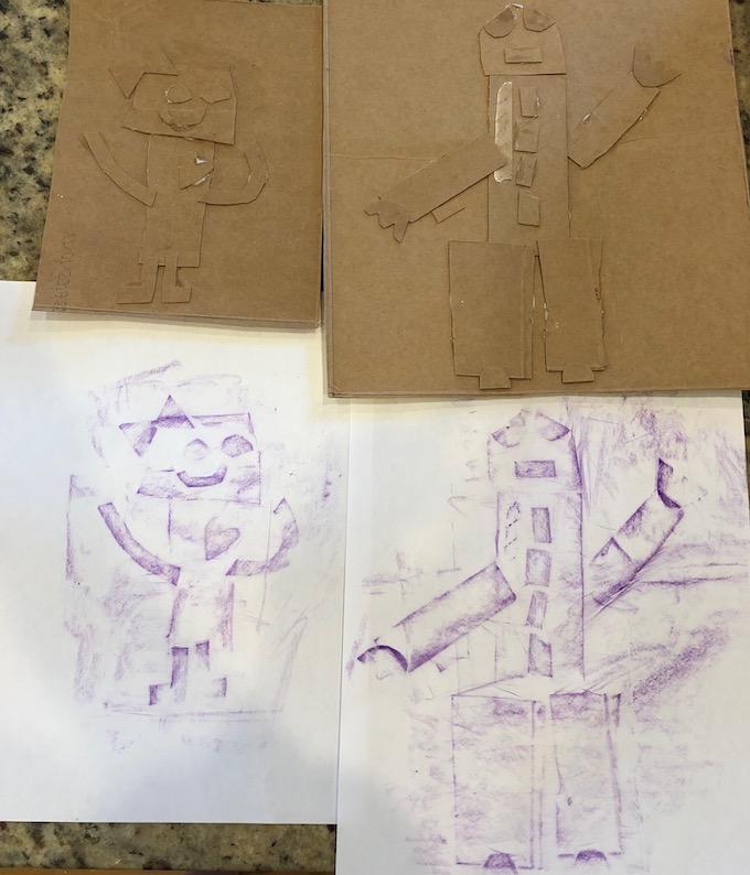 cardboard robot rubbings