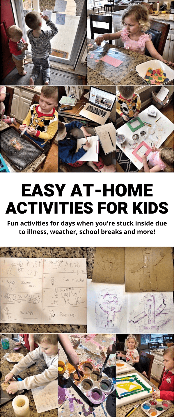 Here are 35+ At-Home Activities For Kids!  These simple ideas are great for when you're stuck at home due to illness, weather, or a break from school. Most can be modified for a wide range of ages.