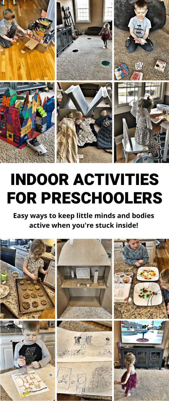 Here are 35+ Indoor Activities for Kids that are perfect for helping preschoolers and kids in elementary school keep their bodies and minds active indoors when it's too hot, cold or rainy to go outside.