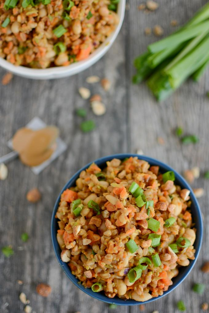 Asian Farro White Bean Bowls with riced vegetables and peanut sauce
