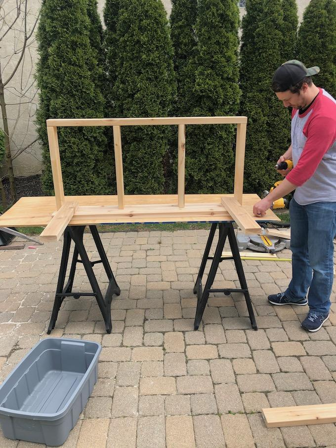 How to build a mud kitchen - top frame